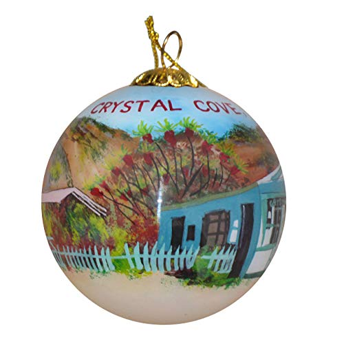 Art Studio Company Hand Painted Glass Christmas Ornament - Beach Cottages in Crystal Cove, CA (Best Crystal Cove Cottage)