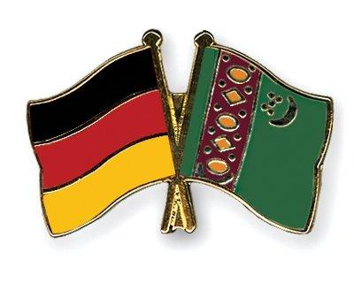 Turkménistan Allemagne & amitié drapeaux Plaqué Or-Gifts Épinglette émaillée