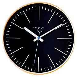 The Collins Wooden Wall Clock by Marksson: 12 Quartz, Silent Non-Ticking Wall Clock | Genuine Wood Frame | High End Mechanism | Ten Colors | Ideal Bedroom Clock, Kitchen Clock, Office Clock