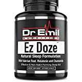 Dr. Emil EZ Doze – Sleep Aid with Valerian Root, Melatonin, Chamomile, St Johns Wort & Magnesium – Natural & Non Habit-Forming Sleep Support Supplement (60 Veggie Capsules)