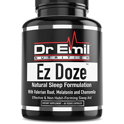 Dr. Emil EZ Doze - Sleep Aid with Valerian Root, Melatonin, Chamomile, St Johns Wort & Magnesium – Natural & Non Habit-Forming Sleep Support Supplement (60 Veggie Capsules)