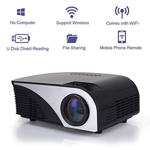 Wireless Projector LED Portable HD 1080P Portable Movie Projector Support Windows/iOS/Android, USB Read, Home Office Mini Projector for Various File formats (Black) (Best Format For Usb)