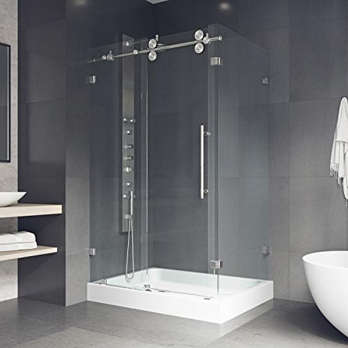 VIGO 36 x 48 Frameless Rectangular Sliding Shower Door Enclosure with Tempered Glass | Waterproof Shower Door Seal Strip and 304 Stainless Steel Hardware | Left Drain Base | Stainless Steel Finish