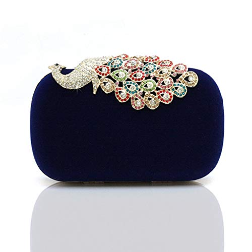 Temperament Purse Superw Clutch Rhinestones Diamond Bag Chic Blue Peacock Evening Clutch Small xOOX4Z7