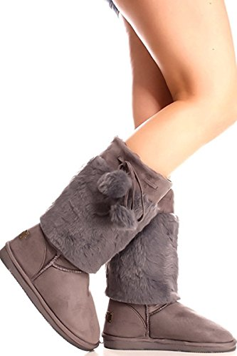Latest Fashion Women Fur Lined Shearling Cold-weather Mid Calf Snow Boot Shoes Grey-2