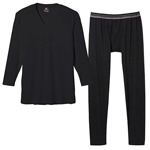 援助するアドバンテージ習慣ミズノ(MIZUNO) ブレスサーモ エブリ Vネック長袖シャツ&タイツセット(ブラック) C2JA5601-09-C2JB5601-09 M