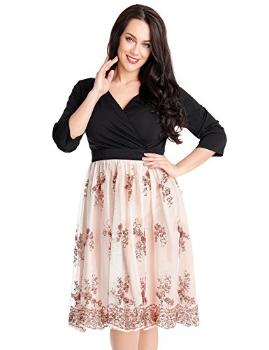 GRAPENT Women's Plus Size Beige Pink 3/4 Sleeve Surplice Sequin Mesh A Line Skater Casual Short Dress Size 26W (Surplice Sequined)