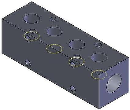 MM-310 Aluminum Single-Sided Ports Manifold 3//8 NPT Ports 1//2 NPT Inlet