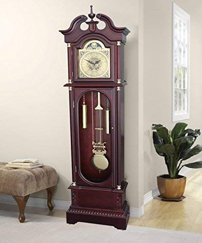Grandfather Floor Clock Blue Moon Roman Numeral Wooden Long Case Tall Antique Cherry Oak Large Solid Wood Home Decor Free Standing Vintage Longcase Gold Pendulum Automatic Single Chime Quartz Glass Do Home Furniture