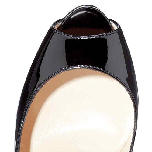 Arc de zapatos plataforma Ciel mujer de peep de en blacksnake toe la us16 tacón alto gwgqCF