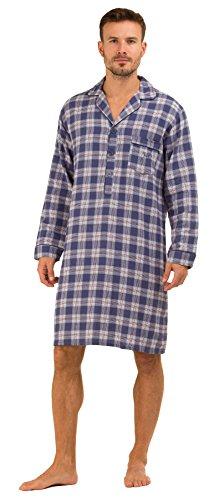 Check Cotton Mens Brushed - Haigman Men's Printed Brushed Cotton Nightshirt Nightwear Lounge Medium 38-40 Chest Blue Check