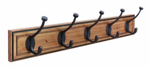 Amerock H55662HORB Beveled Hook Rack, Honey Pine and Oil Rubbed Bronze, 27-Inch