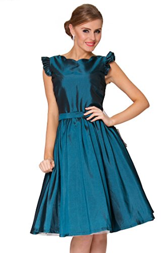 SEXYHER Ladies 1950's Vintage Style Petal Sleeve With Ruched Detail Classic Dress