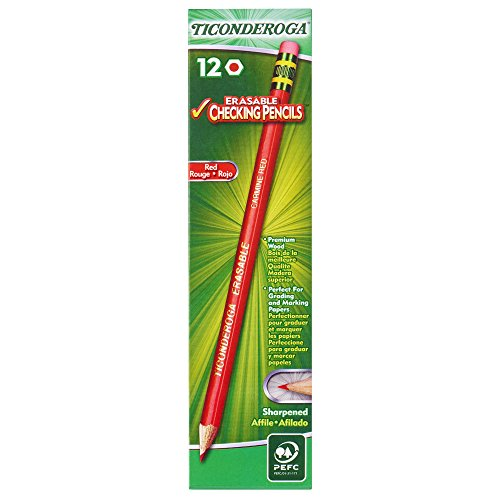 Ticonderoga Erasable Checking Pencils with Eraser, Pre-sharpened, Red, 12-Pack (14259) Dixon Erasable Colored Pencils