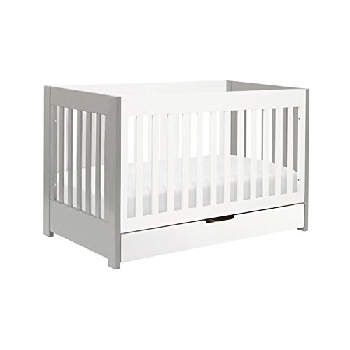 Babyletto Mercer 3-in-1 Convertible Crib with Toddler Bed Conversion Kit, Grey/White