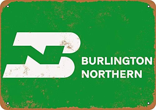 Iliogine Burlington Northern Railroad Home Decoration Metal Sign Vintage Look 12 x 18