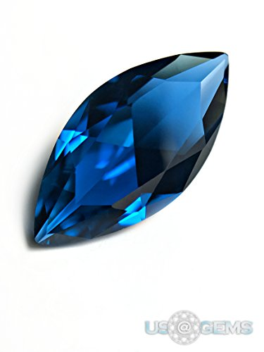 Citrine Lab - Topaz London Blue #141. Marquise 16x8 mm. 3,5 ct. SIAMITE Created Loose Gemstone. US@GEMS