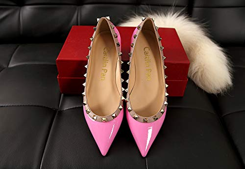 Caitlin Ladies Mocassini con Borchie On Piatti Gladiatore Donna Pan Scarpe 45 Piatti Rivetti a EU Casual 35 Tacchi Pink Punta Slip wOwq6r