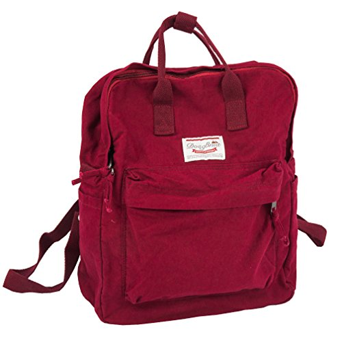 LuckyZ Womens Casual Style Lightweight Canvas Backpack School Bag Travel Daypack Medium Handbag Purse, Wine Red