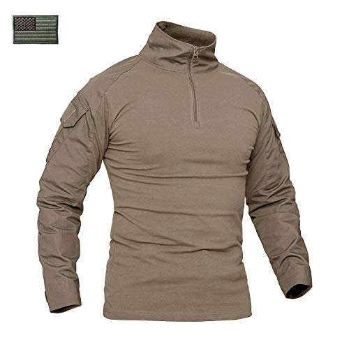 Shirts Khaki Military (CRYSULLY Men's Autumn Winter Military Atacs Fg Sailing Field Shirt Airsoft Tactical Shirt Woodland Battle Shirt Khaki)