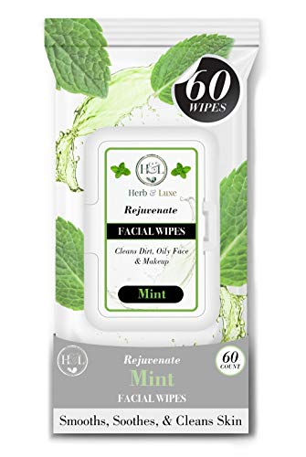 Herb & Luxe Face Wipes, Flip-Top Makeup Remover Facial Cleansing Wipes with Aloe Vera for Sensitive, Oily, dry Skin, Face/Hands/Body, Women/Men, 60 Count, Mint (Pack of 1 = 60 Wipes)