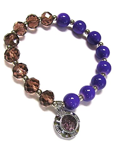 - Woman Bracelet/ Crystal Spinner Lucky Charm/ Birthstone Color/ June-Alexandrite