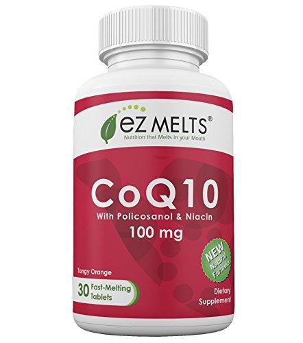 Orange Flavor 100 Tabs (EZ Melts CoQ10, 100 mg, Dissolving Vitamins, Zero Sugar, Natural Orange Flavor, 30 Fast Melting Tablets, CoQ10 Supplement)