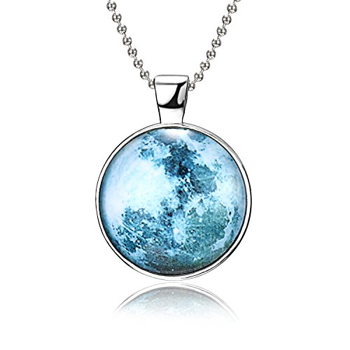 Rinhoo Magical Fairy Glow in the Dark Moon Bead Chain Pendant Necklace White Gold Plated (Style ()