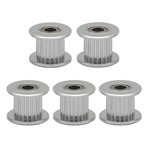 (ReliaBot 5PCs Aluminum 2GT Idler Pulley 20 Teeth with Dual Ball Bearings Bore 5mm for 3D Printer 10mm Width 2GT Timing Belt and 20 Teeth Timing Pulley)