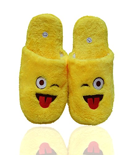 Beaute Fashion Emoji Ultra-Soft Womens Plush Slip-On Scuffs Slippers Cozy Non-Skid Slippers - Wink, Halo, Smiley Face, Grimace Great For Gifts Wink - Tongue Out