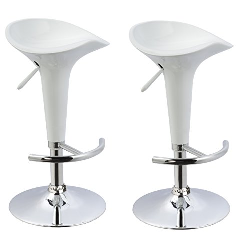 (Duhome 2 PCS Contemporary Bombo Style Gloss Finish Adjustable Swivel Bar Stools Chairs for Bar Counter Top Pub (White))