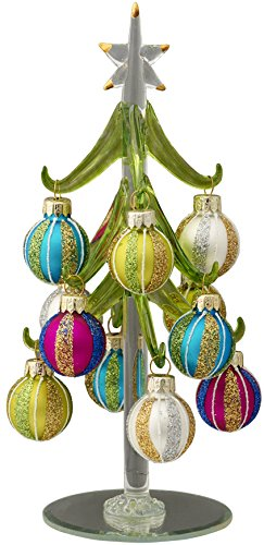 LSArts Glass Christmas Tree with 12 Ornaments, Green, Stripes, 8 Inch, Gift Box