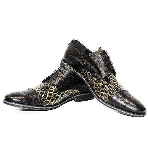 Modello Machonno - Handgemachtes Italienisch Leder Herren Schwarz Oxfords Abendschuhe Schnürhalbschuhe - Rindsleder Geprägtes Leder - Schnüren
