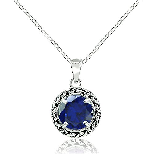 Sterling Silver Created Blue Sapphire Round Oxidized Rope Pendant (Round Blue Sapphire Pendant)