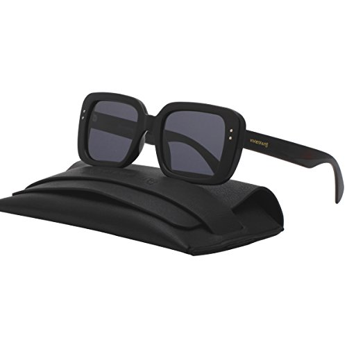 Bold Retro Thick Square Frame Sunglasses Tinted Lens Polarized Shades For Women P2292A - Glasses Rectangle Thick Black