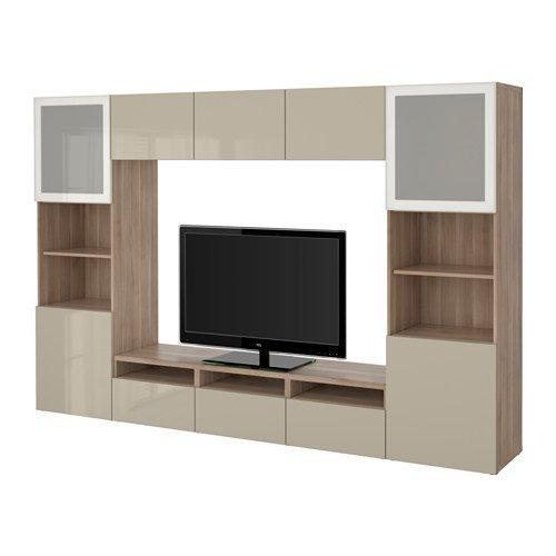 Ikea TV storage combination/glass soft-closing doors, walnut effect light gray, Selsviken high gloss/beige frosted glass 8202.26517.618