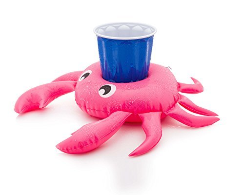 Inflatable Drink Float Holders Premium Set of 3 - Floating Crab Cup Perfect for Pool, Birthday and Summer Fun - Neon Sunglasses Rubber
