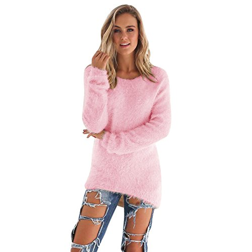 Newest Womens Sweater,Sunyastor Ladies Casual Solid Plush Coat Winter Long Sleeve V Neck Pullover Jumper Sweaters Blouse (Denali Girls Jacket Fleece)