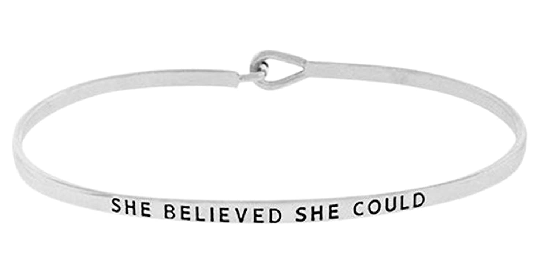 "Inspirational Encouraging ""SHE BELIEVED SHE COULD"" Thin Brass Bangle Hook Bracelet"