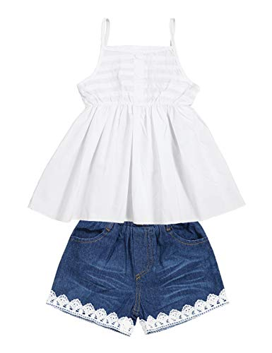 2pcs Toddler Baby Girls T-Shirt Dress+Jeans Pants Clothes Outfits Set White