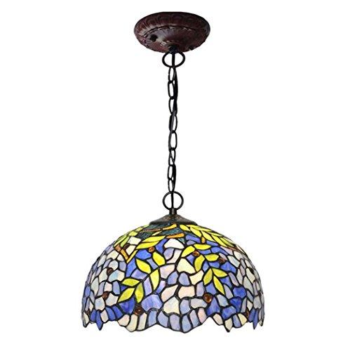 - GAOLIQIN Tiffany Style Pendant Lamp,12-inch Wisteria Design Glass Art Chandelier,Living Room Bedroom Diningroom Pendant Lights