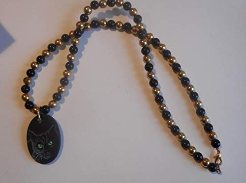 Black Bombay Cat Beaded Necklace Hand Painted Ceramic Pendant