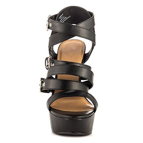 Guapo Sandalias Chica Impermeable De Moda Black Plataforma Hebilla Mujeres Punta Altos Abierta Cinturón Tacones xwRWX8BY