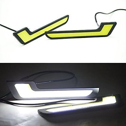 Guance 12V COB Car Styling 7 L Shaped LED DRL Light Super