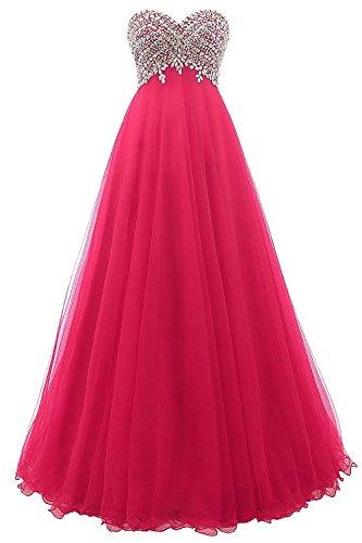 Tulle Cdress Longue Robes De Bal Chérie Robe De Retour Aux Sources Maxi De Robes Formelles Soir Perles Fuchsia