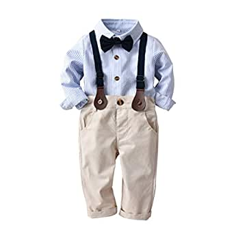 HappyTop 3PCS Boys' Suit Wedding, Baby Gentleman, Shirt & Tie for Boys, Party Christening Suit, 1-3 Years (#for 100cm Body Height, Blue)