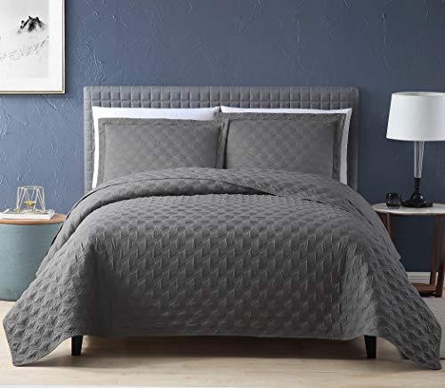 EXQ Home Quilt Set Full/Queen Size Grey 3 Piece,Lightweight Hypoallergenic Microfiber Coverlet Modern Style Onion Flower Pattern Bedspread Set