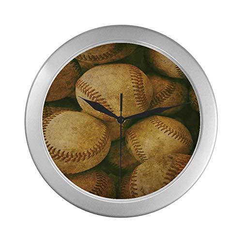Baseball Theme Wall Clock - C COABALLA Vintage Simple Silver Color Wall Clock,Vintage Baseball Backgorund American Sports Theme Nostalgic Leather Retro Balls Artwork for Home Office,9.65
