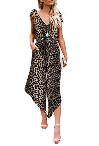 BELONGSCI Women Outfit Sleeveless Shoulder Bandage Waistband Sexy V-Neck Wide Leg Long Jumpsuit with Belt (Leopard Print, XS)