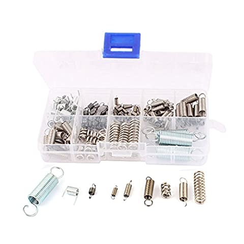 uxcell 121Pcs Assorted Nickel plating Stainless steel Tension Compression Spring Box Packed Kit